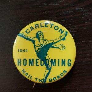 Carleton Knights Football Homecoming Pin 1941